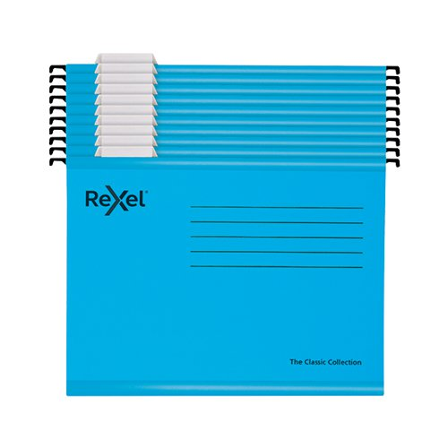 Rexel Classic Suspension Files Foolscap Blue (Pack of 10) 2115594
