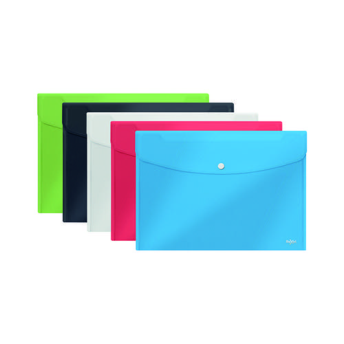 Rexel Choices Popper Wallet A5 Assorted (Pack of 5) 2115673