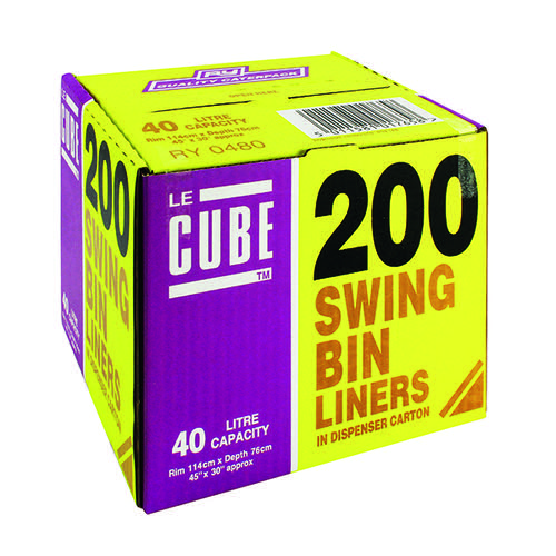 Le Cube Swing Bin Liner Dispenser 46 Litre (Pack of 200) 0480