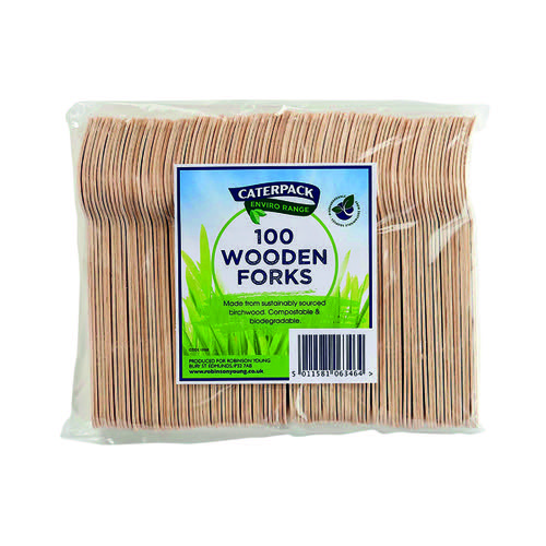 Caterpack Enviro Wooden Forks (Pack of 100) RY10568