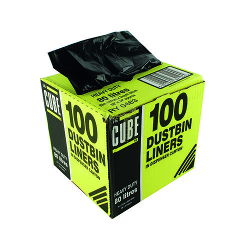 Le Cube Dustbin Liner Dispenser 80 Litre Black (Pack of 100) 0483