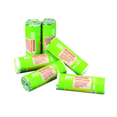 Waste Not Compostable Caddy Liner Bag 20 per Roll (Pack of 6) 10629