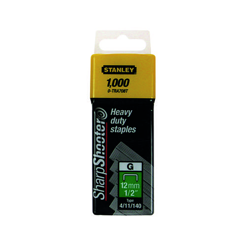 Stanley SharpShooter Heavy Duty 12mm 1/2in Type G Staples (Pack of 1000) 1-TRA708T