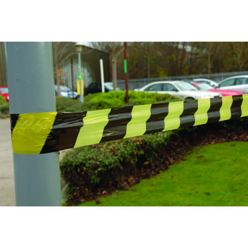 VFM Striped Tape Barrier 500m Black/Yellow (Non-adhesive suitable for indoor or outdoor use) 304927