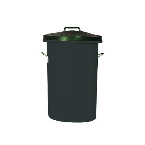 Heavy Duty Cylindrical Storage Bin With Lid Black 311960