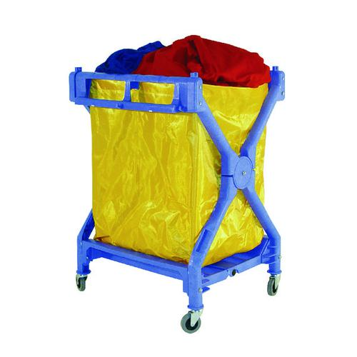 Folding Laundry Trolley Blue 70kg (4 swivel castors) 314176