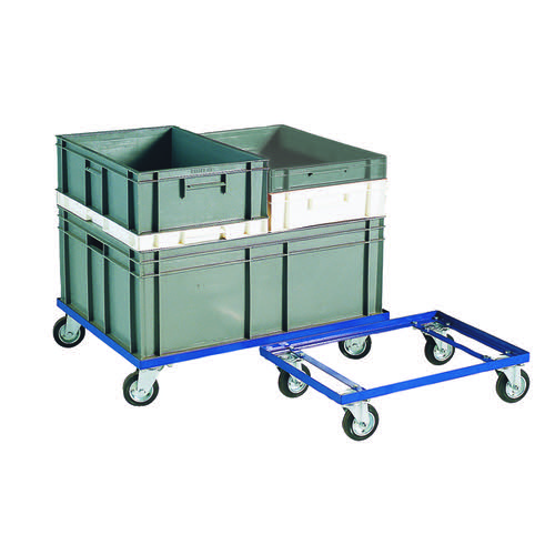 Blue 200kg Container Dolly 100mm Rubber Castors 321516