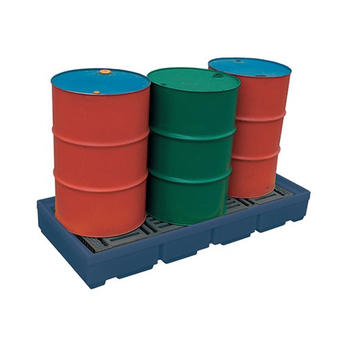 Pallet Sump Poly 4 Drum Capacity Blue 321623