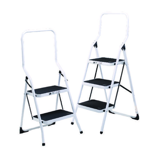 2 Step Folding Safety Step with Safety Rail and Treads White 321676