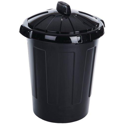Plastic Dustbin 80 Litre Black 379770 Dustbins SBY11082