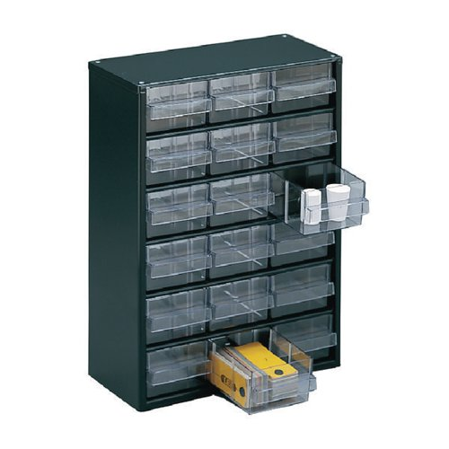 Clear 18 Drawer System Dark Grey Storage Cabinet 324117