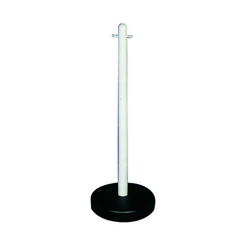 VFM White Freestanding Post With Circular Plastic Base 328349