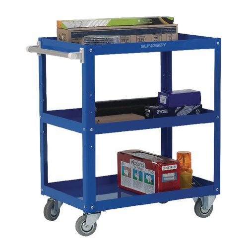 Works 3-Tier Trolley Blue (L670 x W400 x H900mm 150kg Capacity) 329944