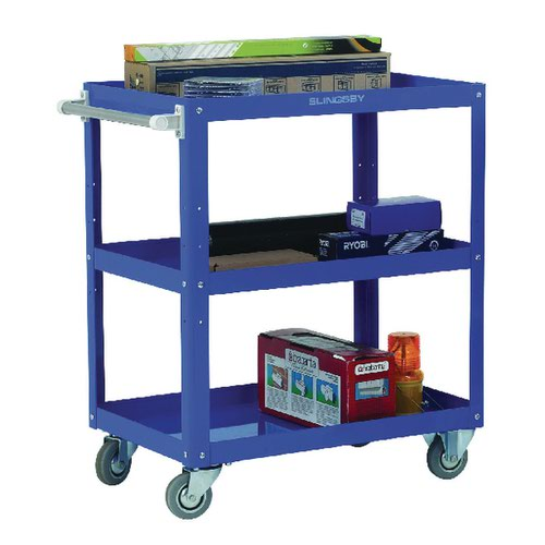 Works 3-Tier Trolley Blue (W500 x D820 x H900mm 150kg Capacity) 329946