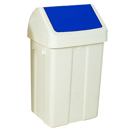 Plastic Swing Top Bin 50 Litre White With Blue Lid 330350
