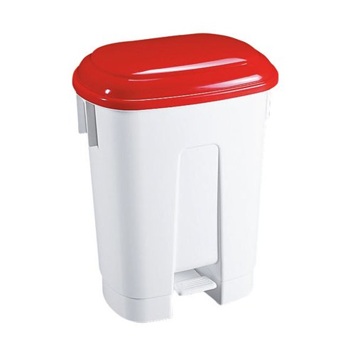 Derby Plastic Pedal Bin 60 Litre White/Red (Dimensions: W500 x D360 x H680mm) 348012
