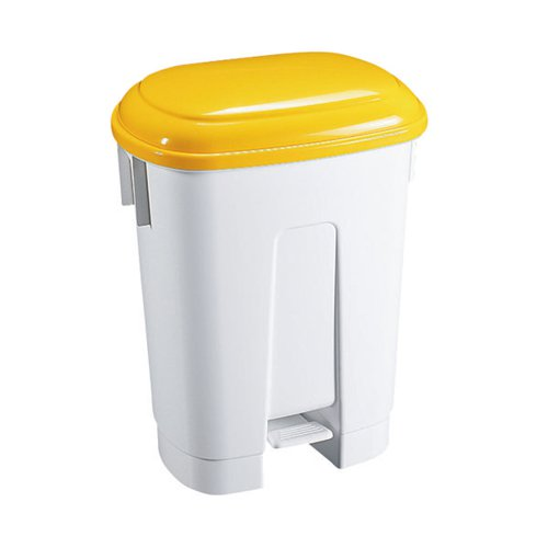 Derby Plastic Pedal Bin 60 Litre White/Yellow 348014
