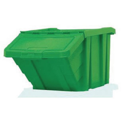 VFM Green Heavy Duty Storage Bin With Lid (Dimensions: 400 x 635 x 345mm) 359520