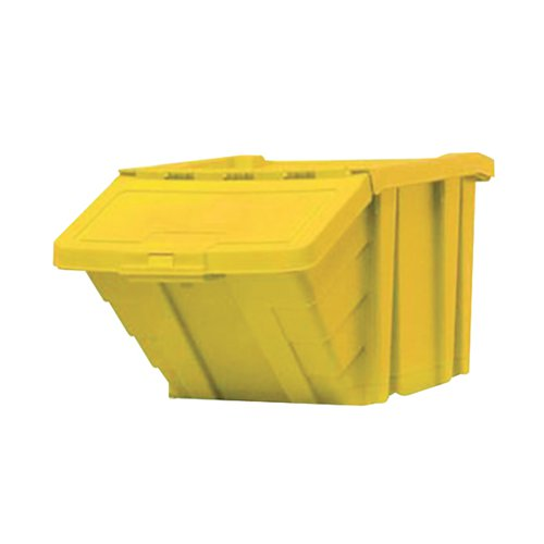 VFM Yellow Heavy Duty Storage Bin With Lid (Dimensions: W400 x D635 x H345mm) 359521