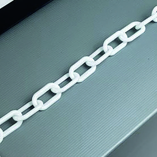 White Plastic 8mm Chain in 25 Metre Lengths 360077