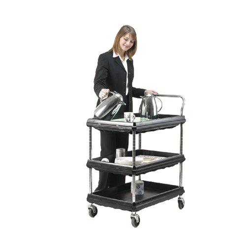 3 Tier Black W832xD546xH1041mm Deep Ledge Trolley 375055