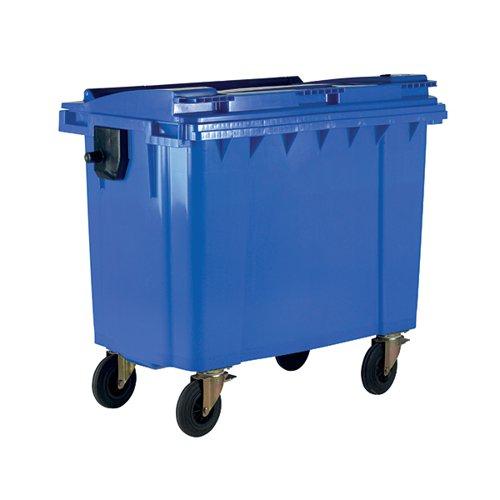 Wheelie Bin With Flat Lid 770 Litre Blue 377386