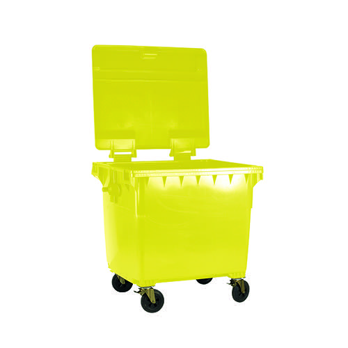 Wheelie Bin With Flat Lid 770 Litre Yellow (4 wheels for easy manoeuvrability) 377389