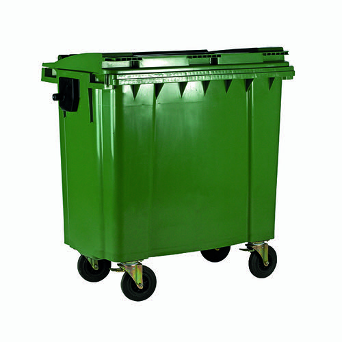 Wheelie Bin With Flat Lid 1100 Litre Green (Made of UV stabilised polyethylene) 377395