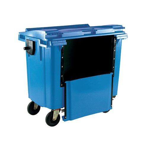 Wheelie Bin With Drop Down Front 770 Litre Blue 377965