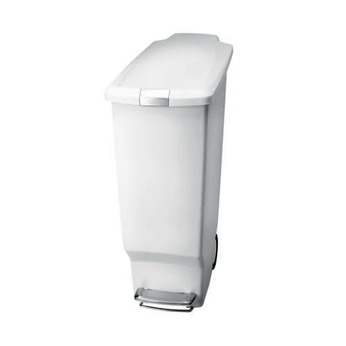 Slim Plastic Pedal Bin 40L White 382649