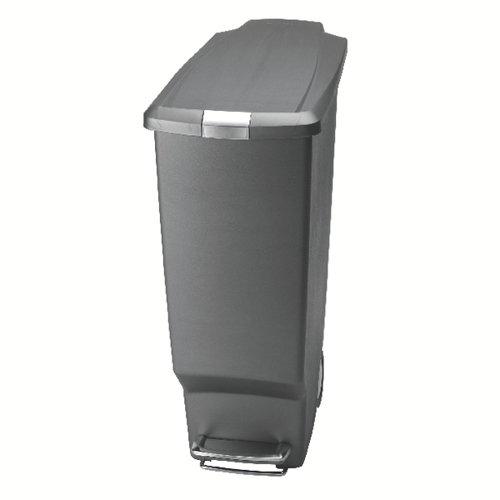 Slim Plastic Pedal Bin 40L Grey 382650