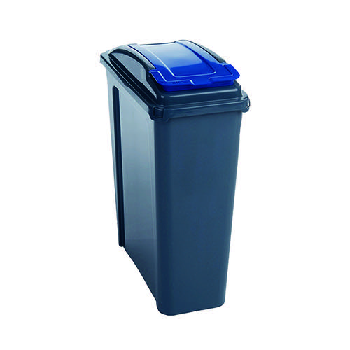 VFM Recycling Bin With Lid 25 Litre Blue 384286