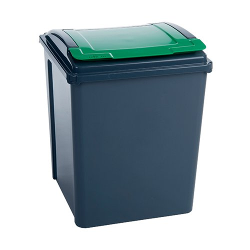 VFM Recycling Bin With Lid 50 Litre Green (Dimensions: W390 x D400 x H510mm) 384288