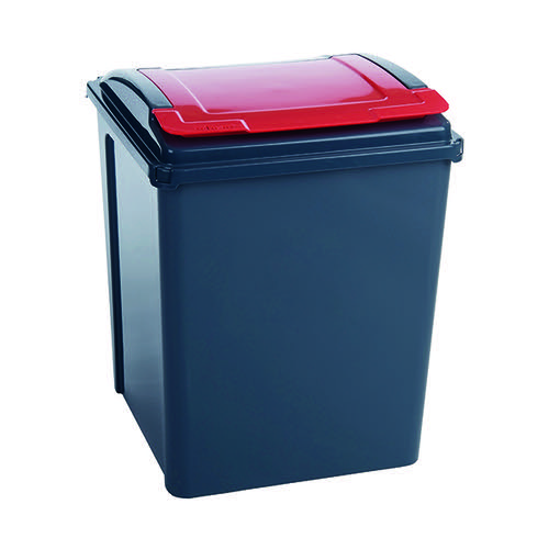 VFM Recycling Bin With Lid 50 Litre Red 384289