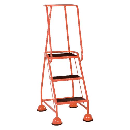 Red 3 Tread Metal Rubber Steps 125kg Max 385135