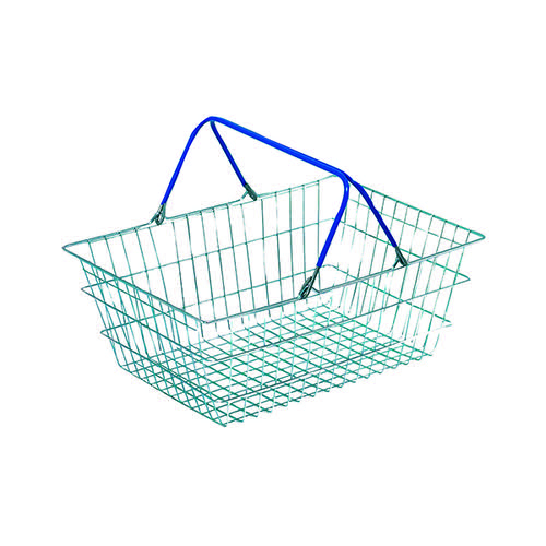 Wire Shopping Baskets Pack of 5 (Zinc coated wite polythene handles)