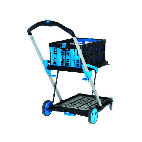 Large Folding Trolley with Folding Box Black/Blue 415149