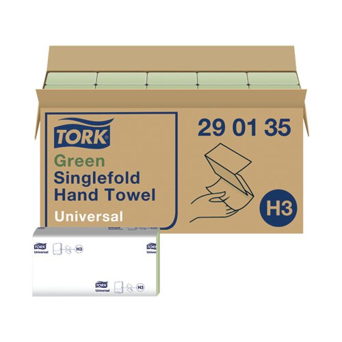 Tork Singlefold Hand Towel H3 Recycled Green (Pack of 20) 290135