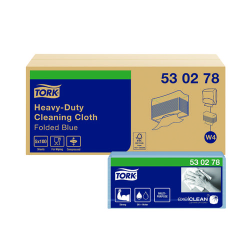 Tork W4 Cleaning Cloth Blue 100 Sheets (Pack of 5) 530278