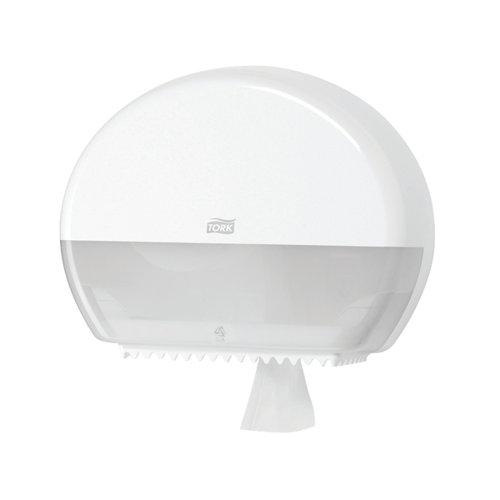 Tork T2 Mini Jumbo Toilet Roll Dispenser White 555000 SCA35484