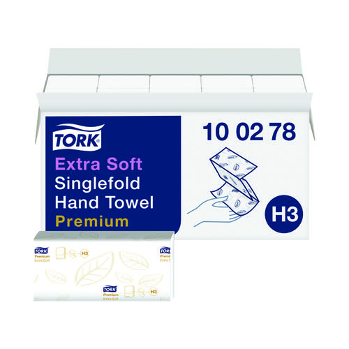 Tork Singlefold Hand Towel H3 White 200 Sheets (Pack of 15) 100278
