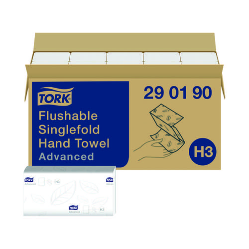 Tork Singlefold Hand Towel H3 Flushable White 250 Sheets (Pack of 15) 290190