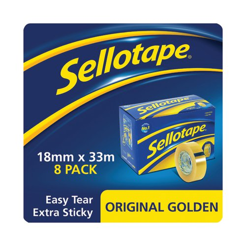 Sellotape Original Golden Tape 18mmx33m (Pack of 8) 1443251