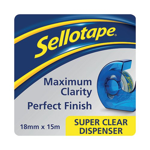 Sellotape Super Clear Tape and Dispenser 18mmx15m (Pack of 7) 1766006