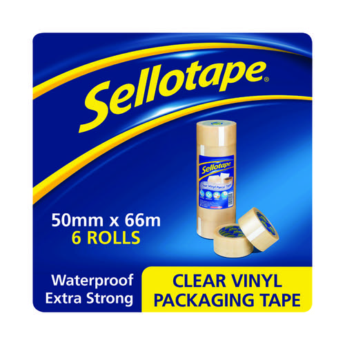 Sellotape Vinyl Case Sealing Tape 50mmx66m Clear (Pack of 6) 1445488