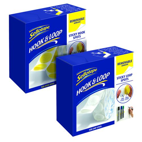 Sellotape Sticky Hook Spots (125 Pk) FOC Loop Spots (125 Pk) SE810856