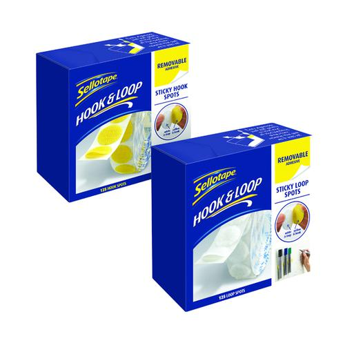 Sellotape Hook Spots with Free Removable Loop Spots SE810860