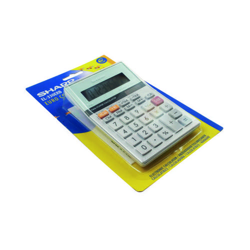 Sharp Silver 8-Digit Semi-Desktop Calculator EL-330ERB