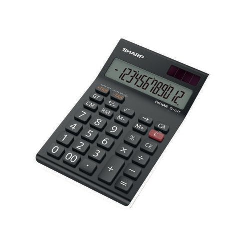 Sharp Black EL-124AT Desktop Calculator (Four key memory stores numbers) EL124ATWH