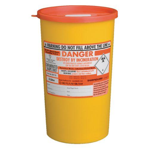 St John Ambulance Sharps Bin 5 Litre Yellow F78022